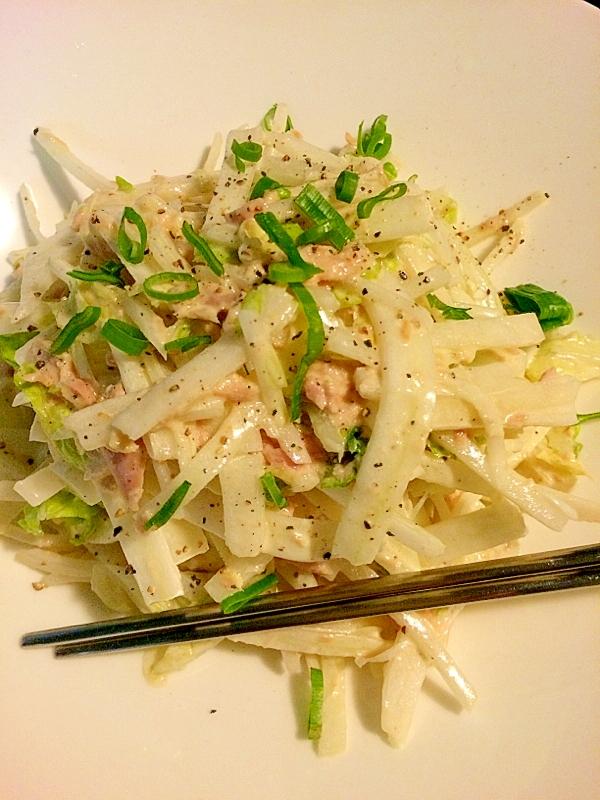 4. 大根とツナと水菜のおかかポン酢サラダ