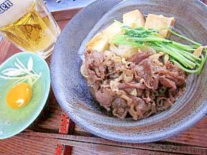 2. くずし豆腐の牛すき風スープ