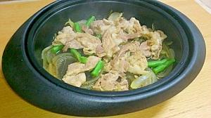 レンジで簡単!!牛肉とインゲン炒め