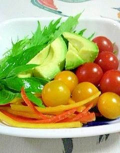 初収穫の水菜のサラダ♪