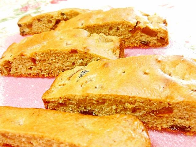 トースターde洋梨とラム漬けフルーツのケーキ