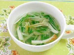水菜とザーサイの中華スープ