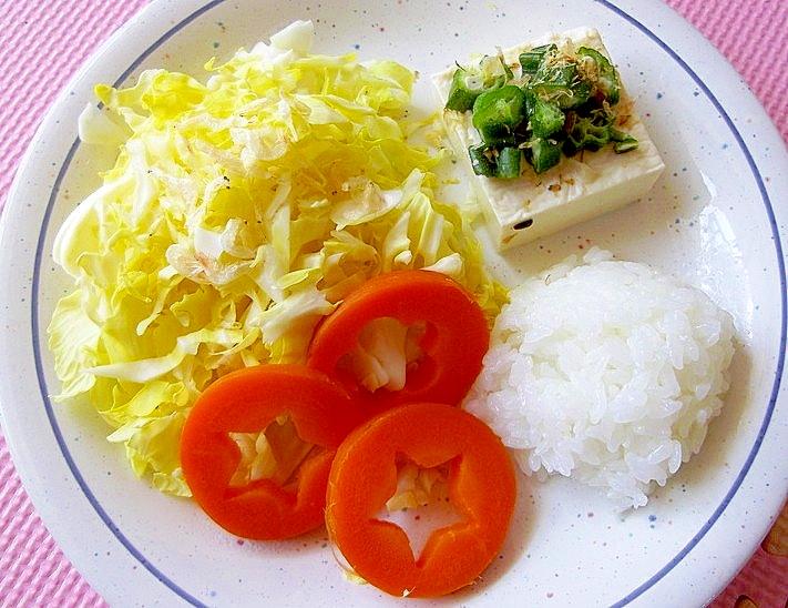 オクラ塩豆腐のダイエットワンプレート