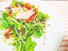 2種の胡麻で♡ささみと水菜の生姜醤油サラダ