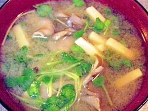 高野豆腐と舞茸と貝割れのお味噌汁