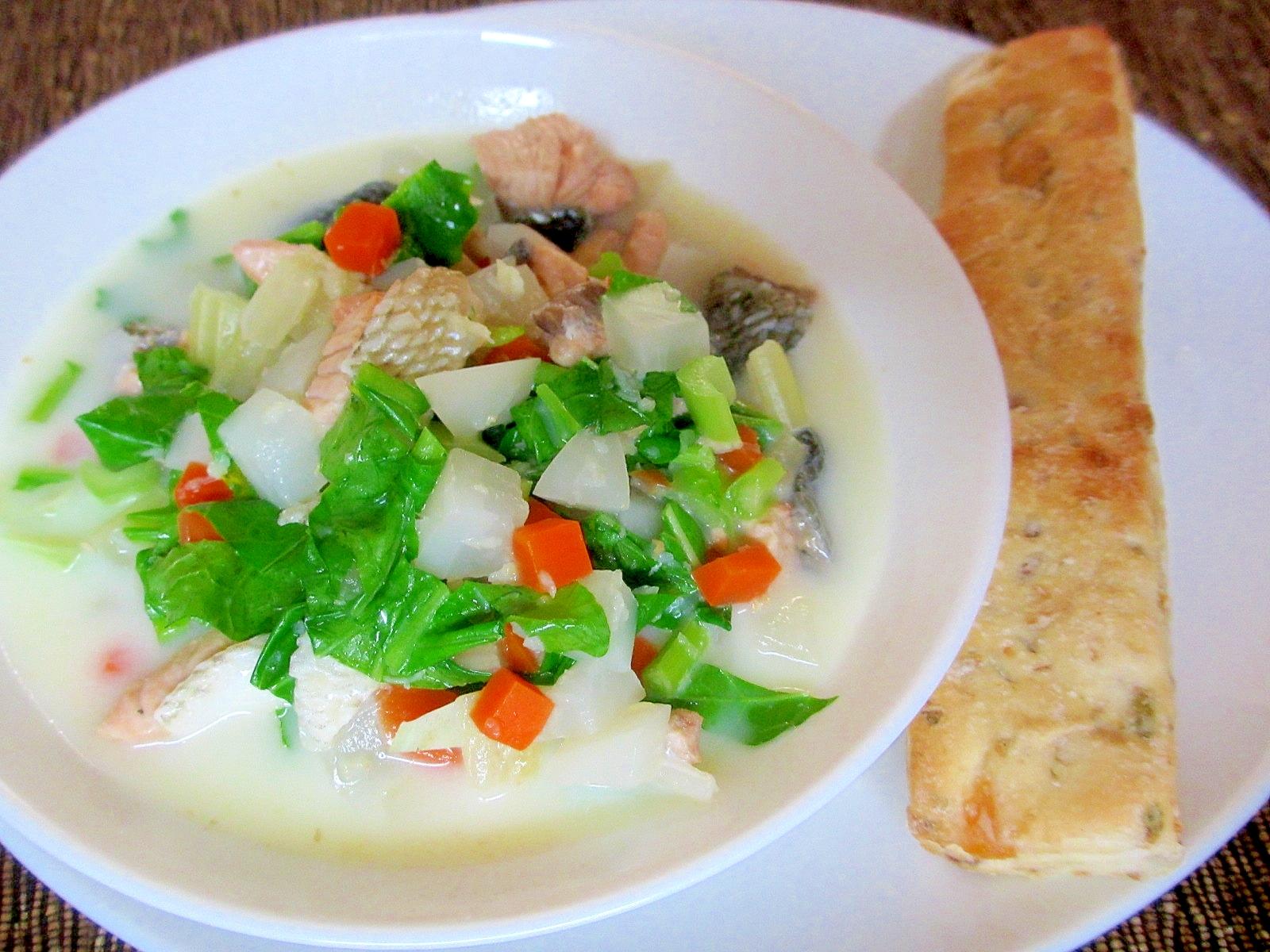 鮭ところころ野菜の豆乳スープの朝パンプレート