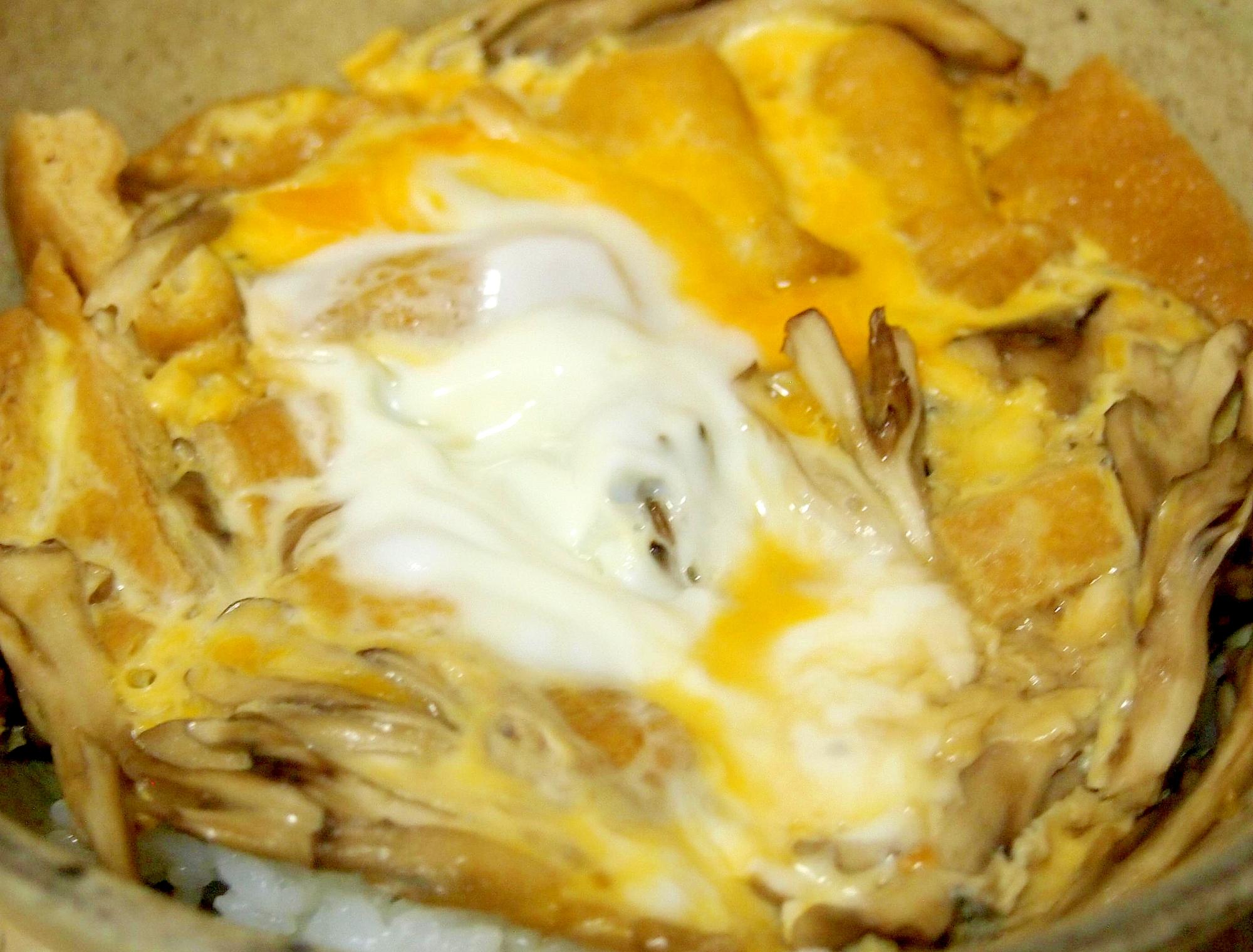 油揚げとまいたけの卵とじ丼