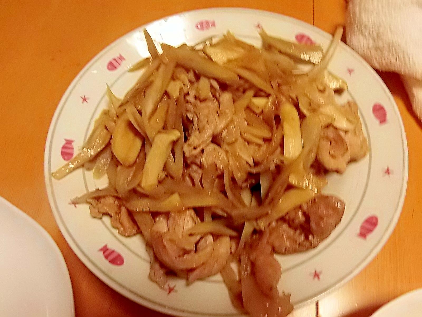 豚肉・エリンギ・ごぼうの甘辛炒め