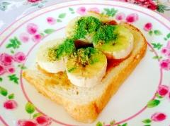 ピーナツクリーム❤︎バナナ❤︎胡麻❤︎青汁トースト