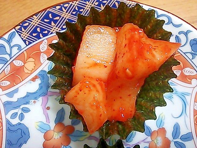お弁当に(^^)海苔のカップde即席カクテキキムチ