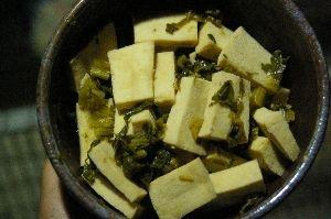 簡単☆高野豆腐のカブ菜漬け炒め