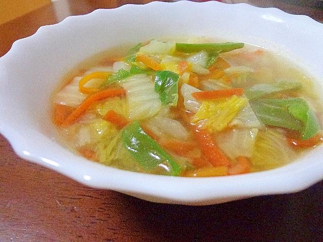 蟹の身ないけど野菜たっぷり蟹スープ