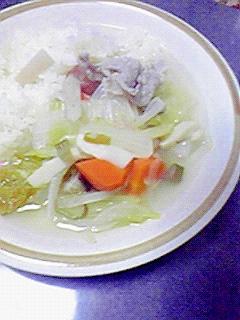 塩糀でヘルシー☆具だくさんなスープ飯♪