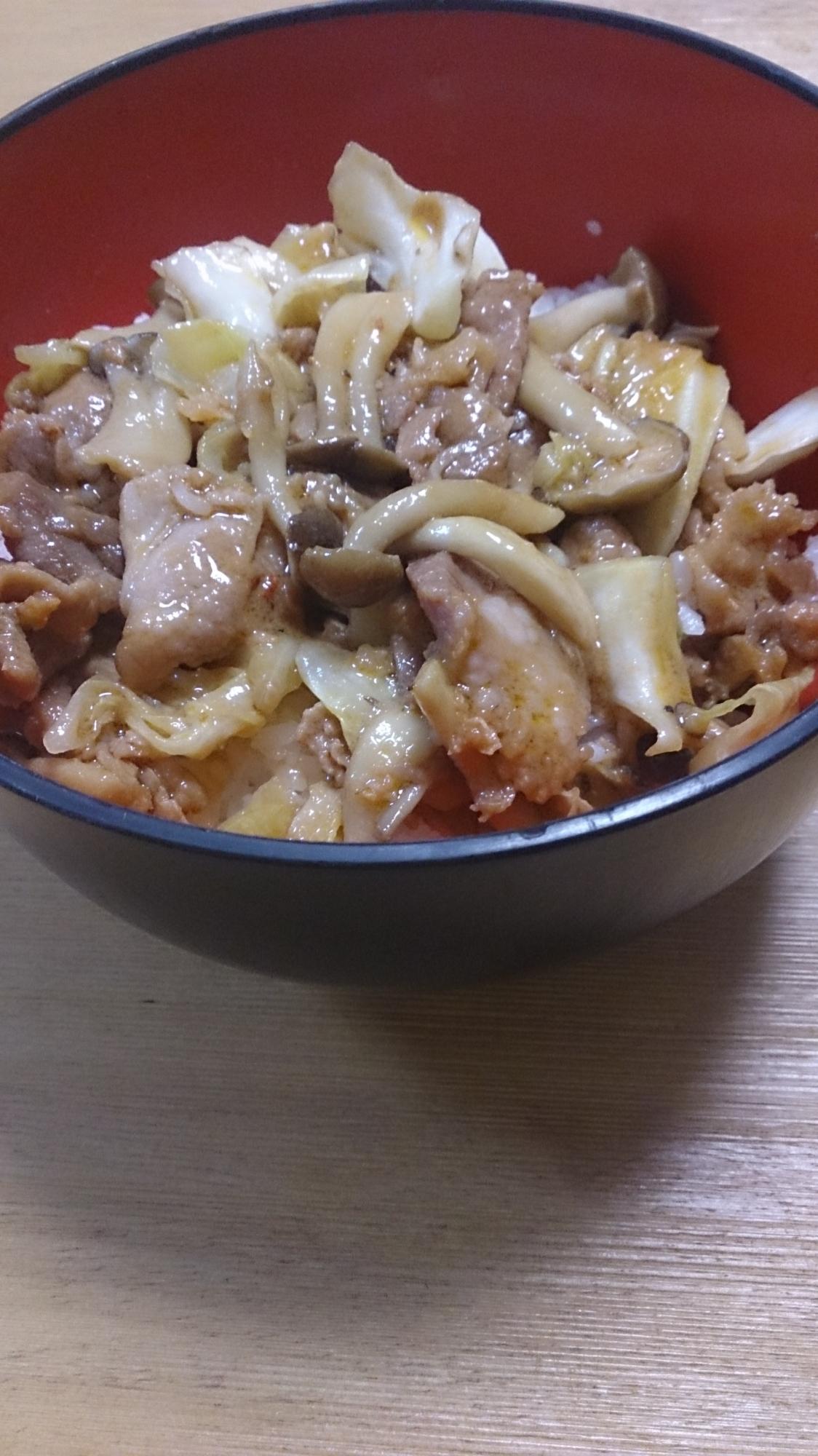 野菜たっぷり豚カルビ丼