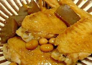 手羽先と大豆のしょうゆ炒め煮