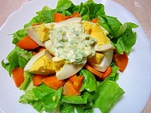 醤油漬け茹で卵でサラダ