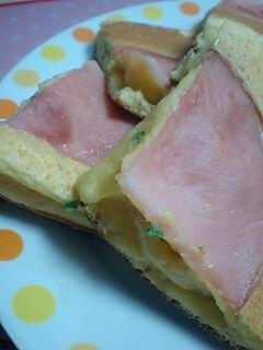 朝食に☆ハムとパセリのパンケーキ