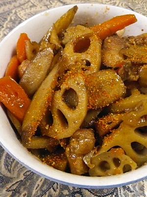 鶏モモごぼう人参レンコンの炒め煮 レシピ・作り方