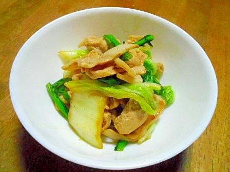 豚薄切り肉・白菜・かぶの葉のオイスターソース炒め