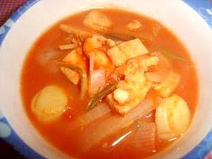 マグロと帆立のトマトスープ