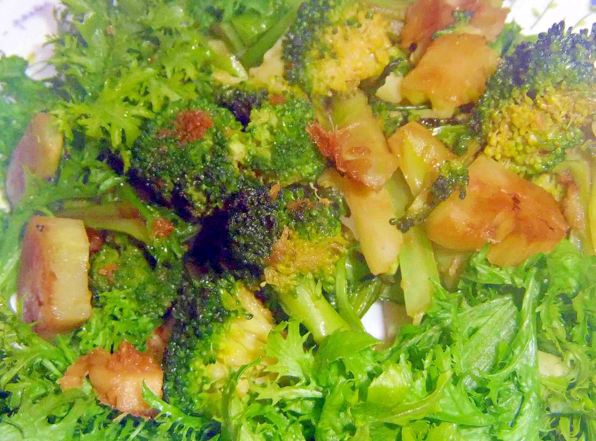 生姜醤油いためのブロッコリーとわさび菜のサラダ