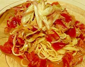 トマトとツナとみょうがの冷製パスタ