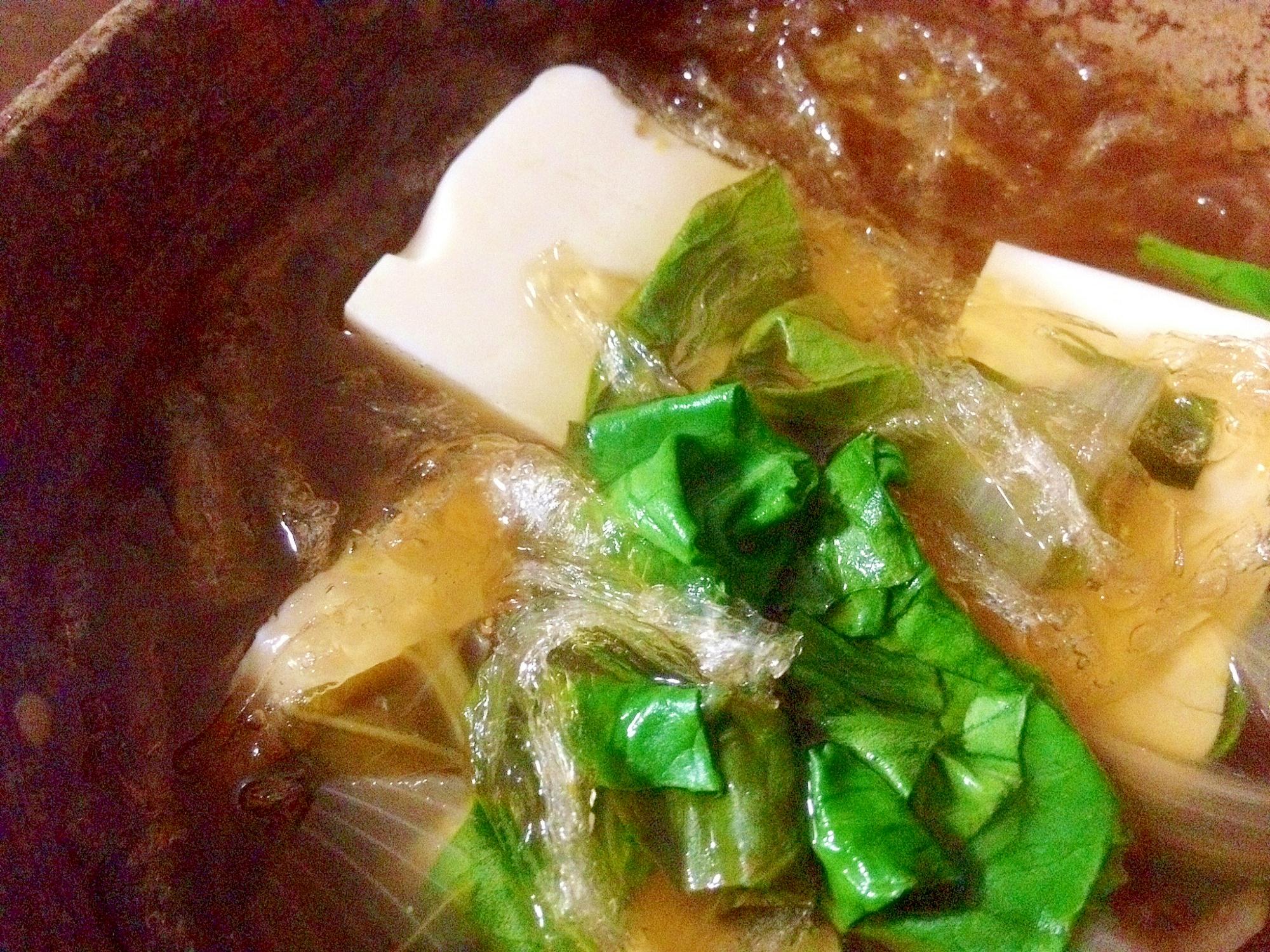 ヘルシー「糸寒天×豆腐×小松菜のダイエットスープ」