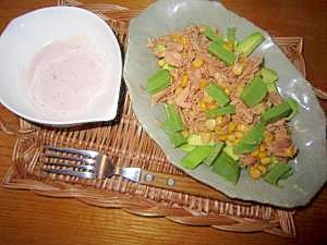 アボガドとツナサラダレッド玉葱マヨネーズ
