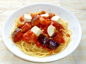 海老と茄子とモッツアレラのトマトソースパスタ