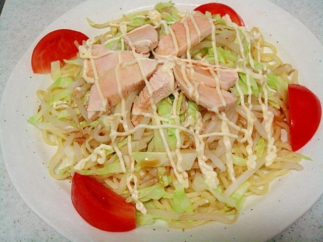 茹で鶏ムネ&野菜の冷やし中華風