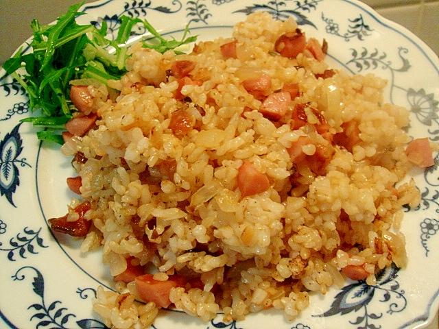 新玉葱ときゅうりのキューちゃんの玄米チャーハン