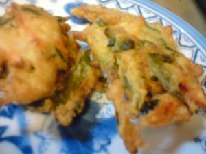 わかめと自然薯と野菜のかき揚げ