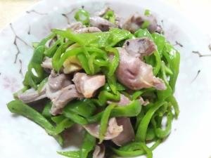砂肝(砂ずり)とピーマンの中華炒め