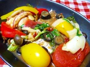 野菜たっぷり真鯛のなんちゃってアクアパッツァ風
