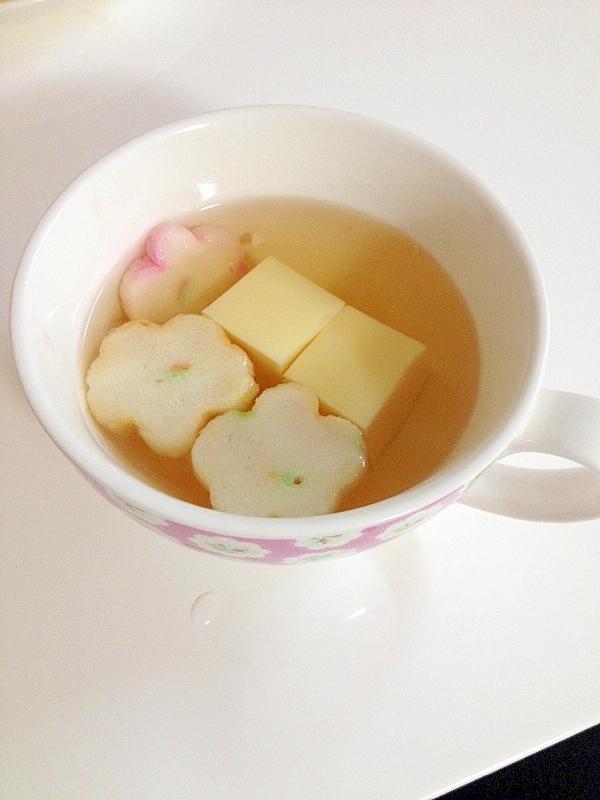 玉子豆腐と麩のお吸い物