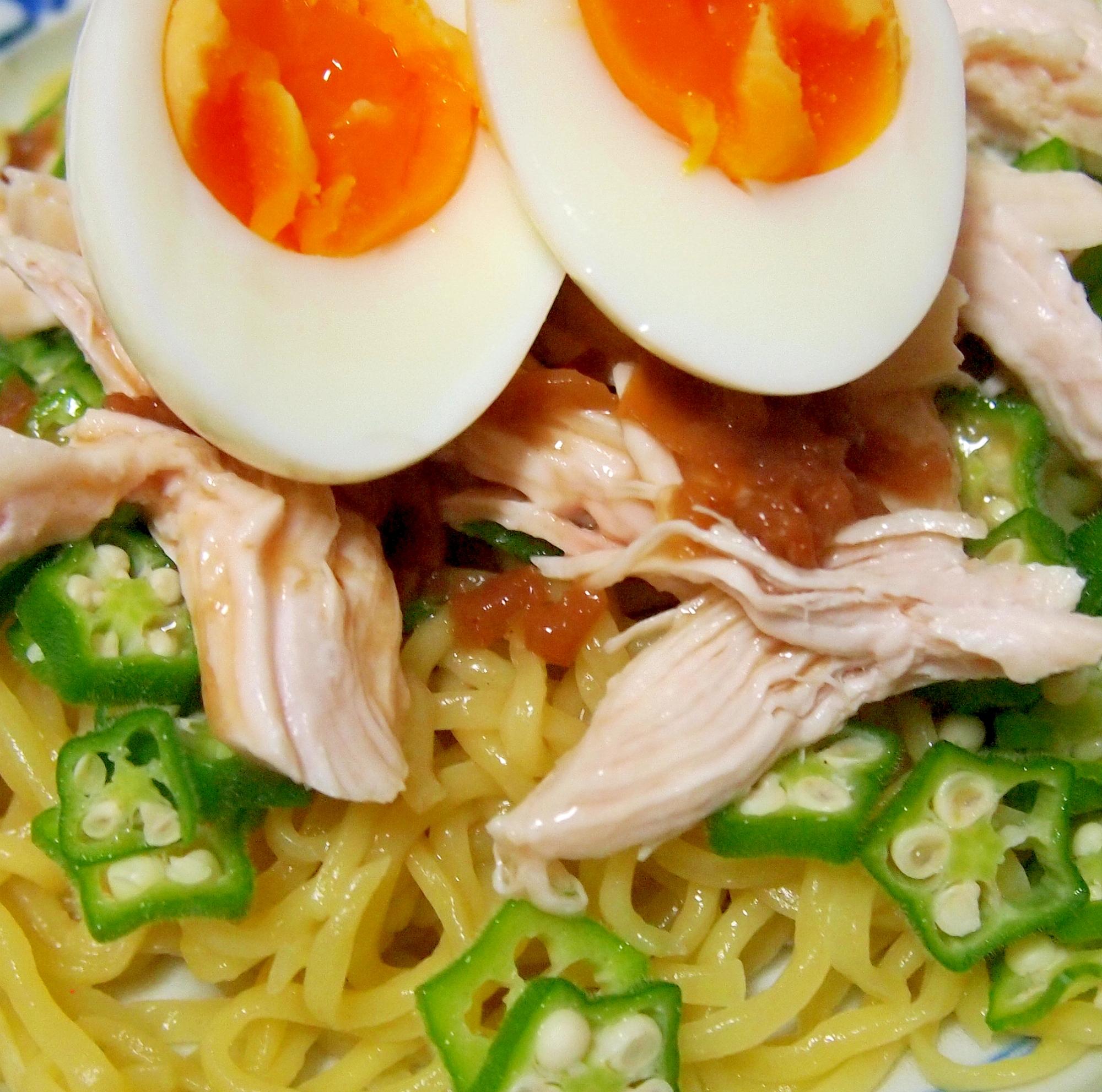 鶏肉とオクラの梅ごま冷やし麺