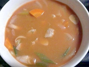 まぐろのあらでピリ辛チゲスープ