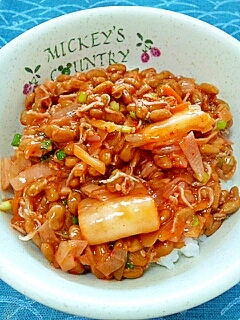 納豆の食べ方-キムチ&甘酢ちりめん♪