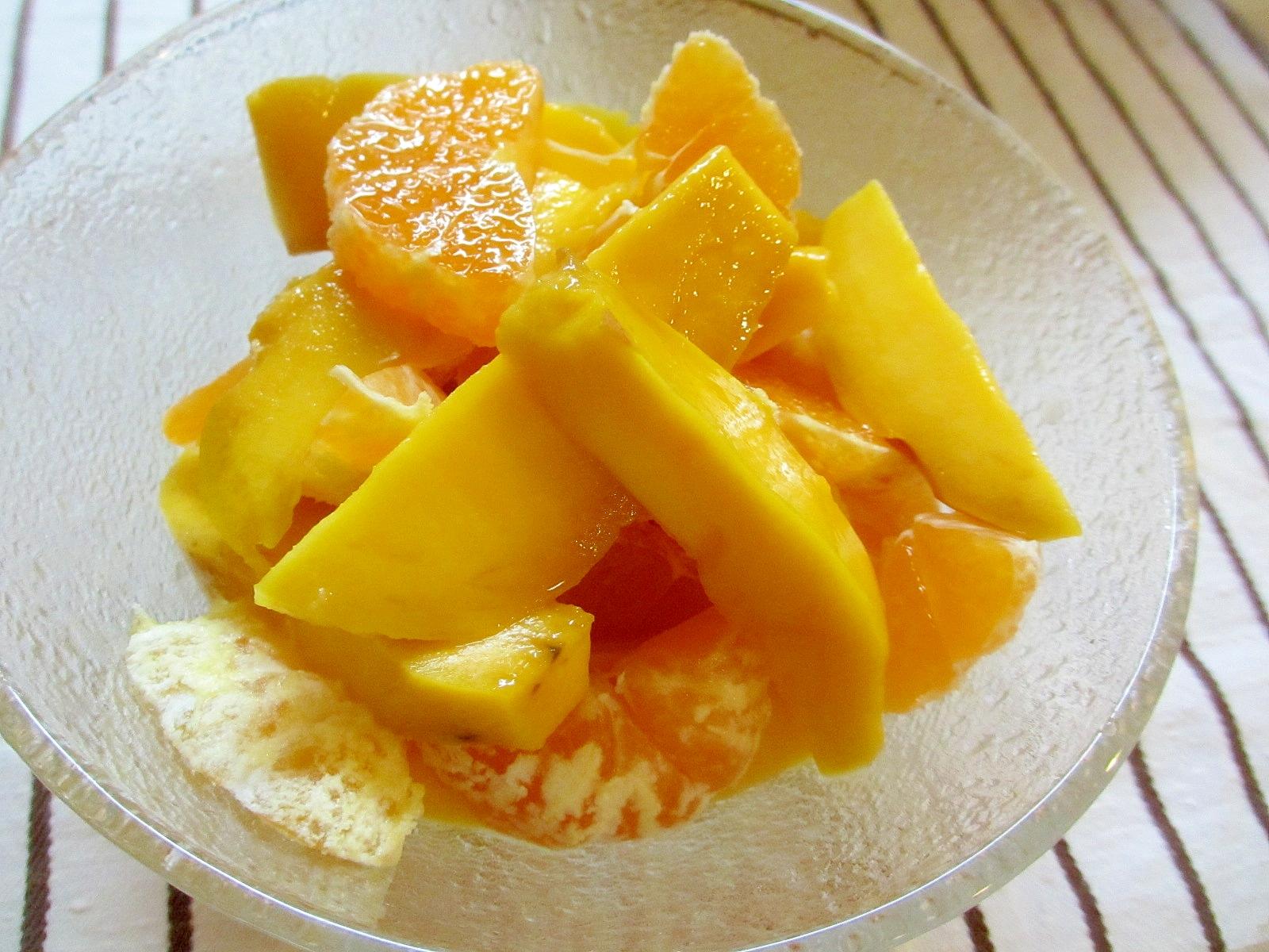 みかんとマンゴーのレモンマリネ