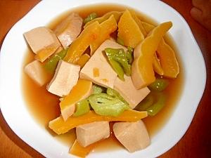 高野豆腐とかぼちゃ・ピーマンの含め煮