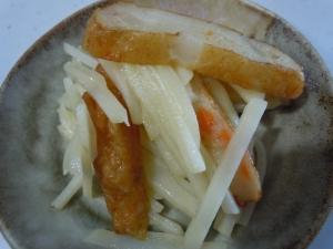 大根とさつま揚げの鶏がらスープ炒め物