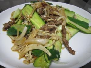@胡瓜と牛肉の炒め物