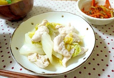 ささみと白菜のフライパン蒸
