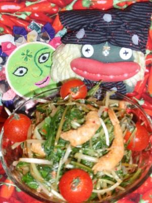 干し海老と水菜の中華風サラダ