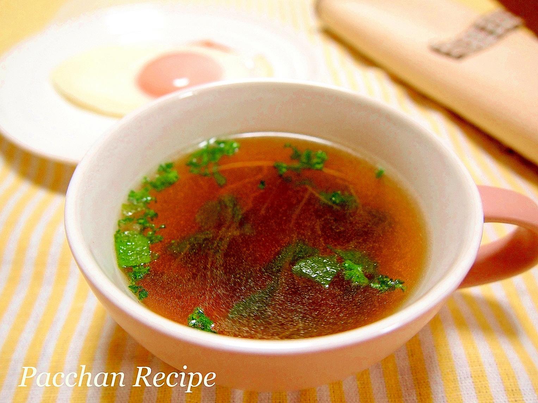 ブロッコリーの新芽とハムのやさしいスープ