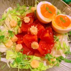 トマトの漬けdeサラダうどん
