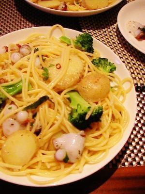 蛸と春野菜のアンチョビパスタ♪