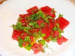 彩り鮮やか★鮪とハーブの簡単カルパッチョ