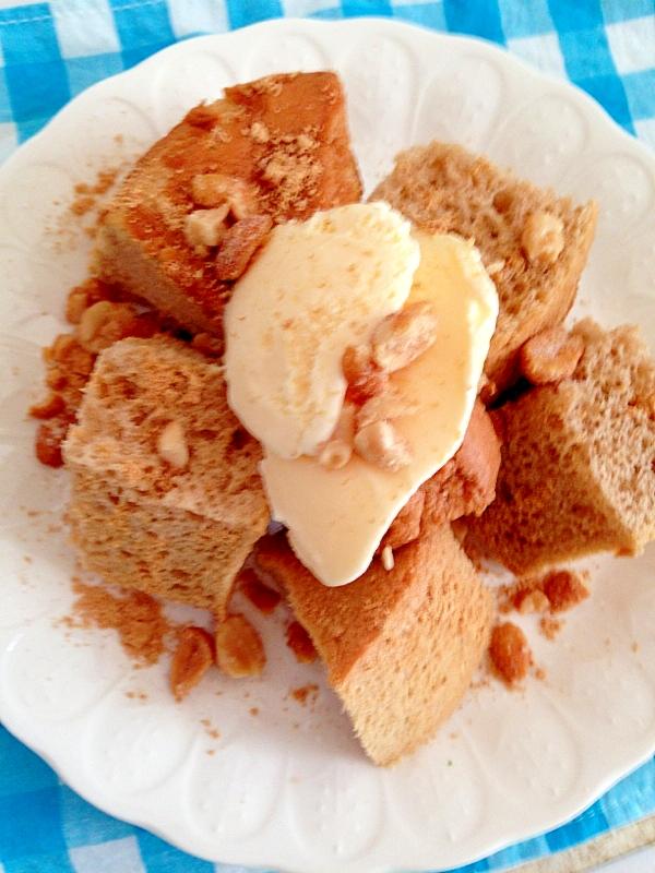 シフォンケーキのアイスデザートプレート