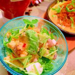 お豆とアボカドのスイチリチーズポテトサラダ